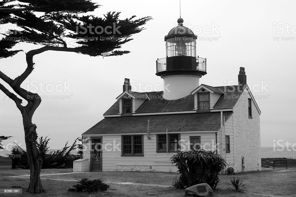 Lighthouse - black and white royalty-free stock photo