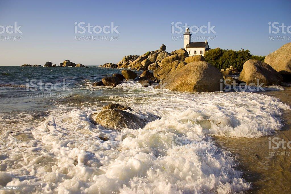 Lighthouse Brignogan Plage stock photo