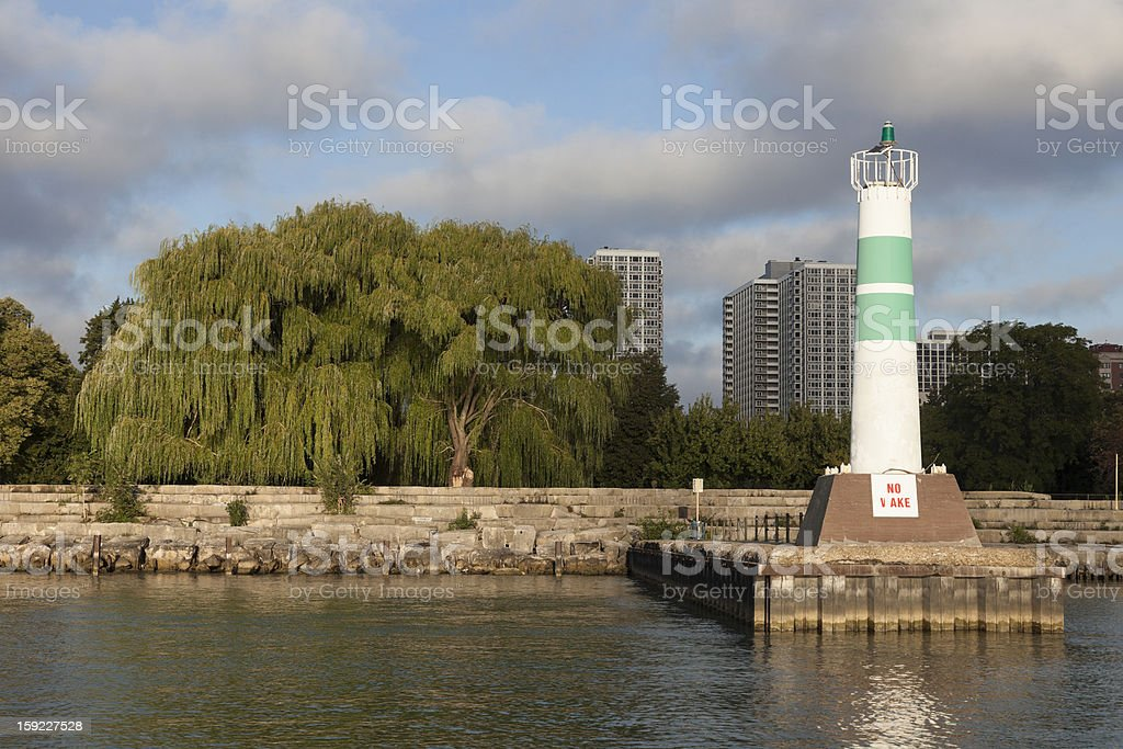 Lighthouse by Montrose Harbour entrance royalty-free stock photo