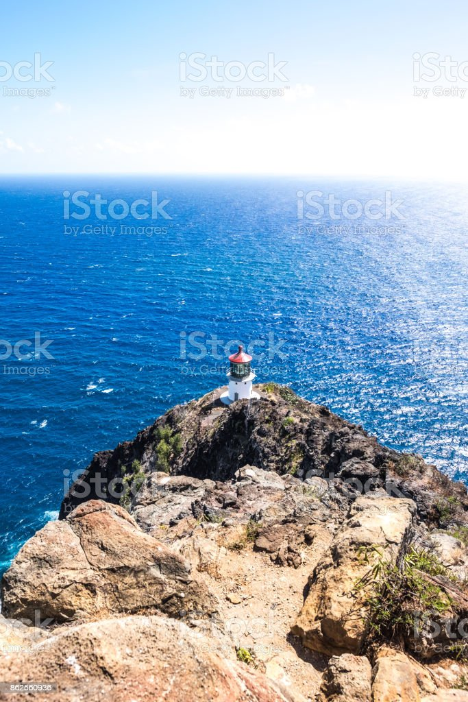 Lighthouse by the Pacific Ocean royalty-free stock photo