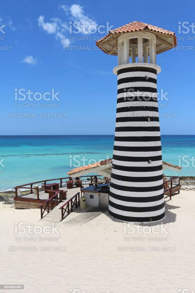 Lighthouse by the sea stock photo