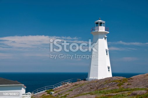 Cape Spear is the most easterly point in North America. This lighthouse stands on a cliff and shows the way to St. John's, Newfoundland.