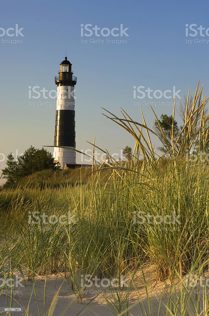 Lighthouse & Dunegrass royalty-free stock photo