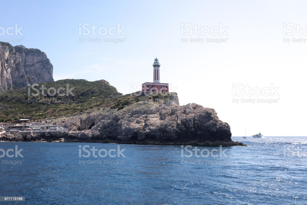 "Lighthouse "" Faro di Punta Carena "", Anacapri village, Capri island Italy - foto stock"