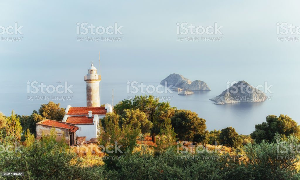 Lighthouse Gelidonya Peninsula in spring. Beautiful landscapes outdoors in Turkey stock photo