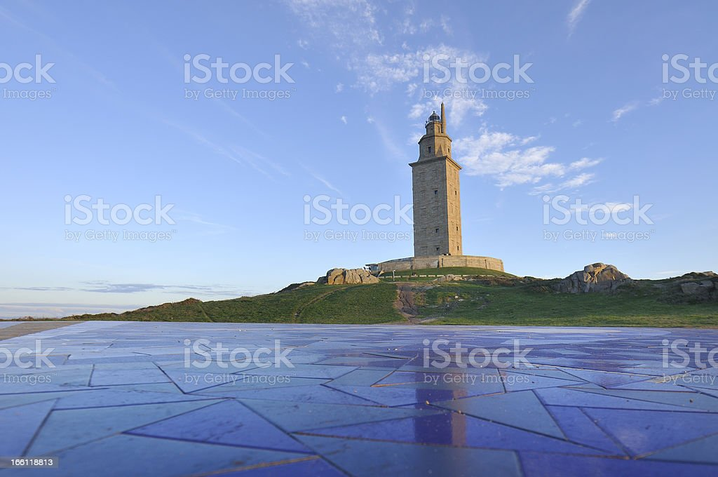 Lighthouse Hercules Tower, symbol the city of A Coruña stock photo