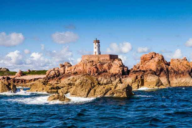 Lighthouse, Ile de Brehat, from the Sea. stock photo