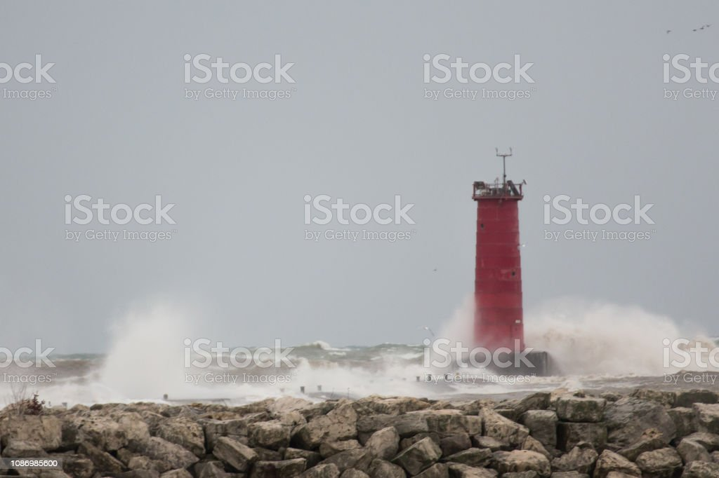 Lighthouse in a Storm stock photo