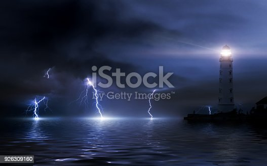istock lighthouse in a storm. Thunderstorm over the sea, lightning beats the water 926309160