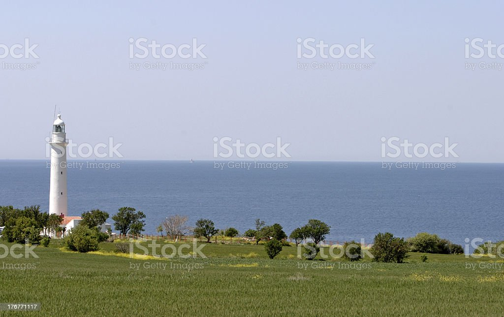 Lighthouse in Agean Sea royalty-free stock photo