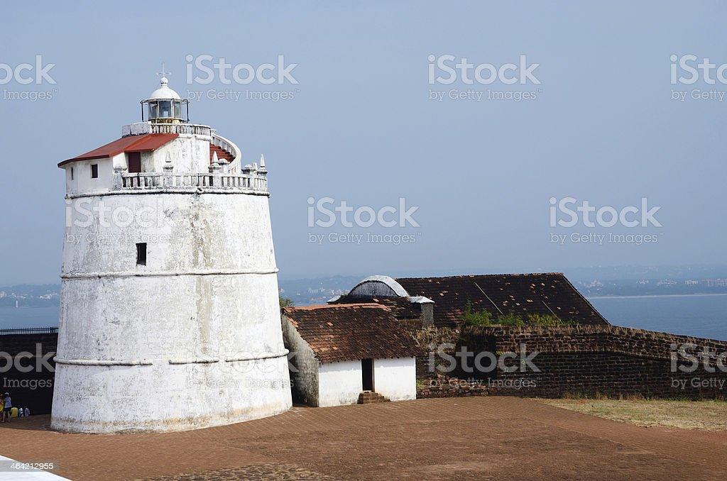 Lighthouse in Aguada fort,Sinquerim Beach,Goa,portuguese India stock photo