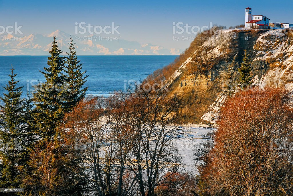 Lighthouse in Alaska on the Cook Inlet stock photo
