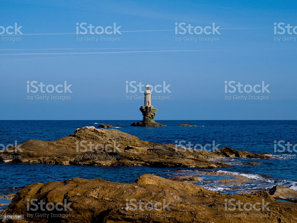 Lighthouse in Andros Island stock photo
