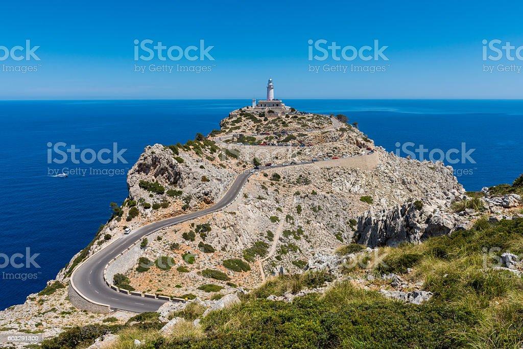 Lighthouse in Cap de Formentor Mallorca stock photo