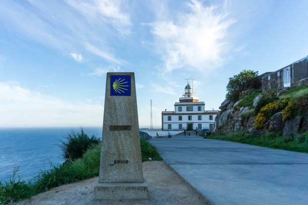 Lighthouse in Finisterre, landscape in Galicia, Spain, on a day in spring stock photo