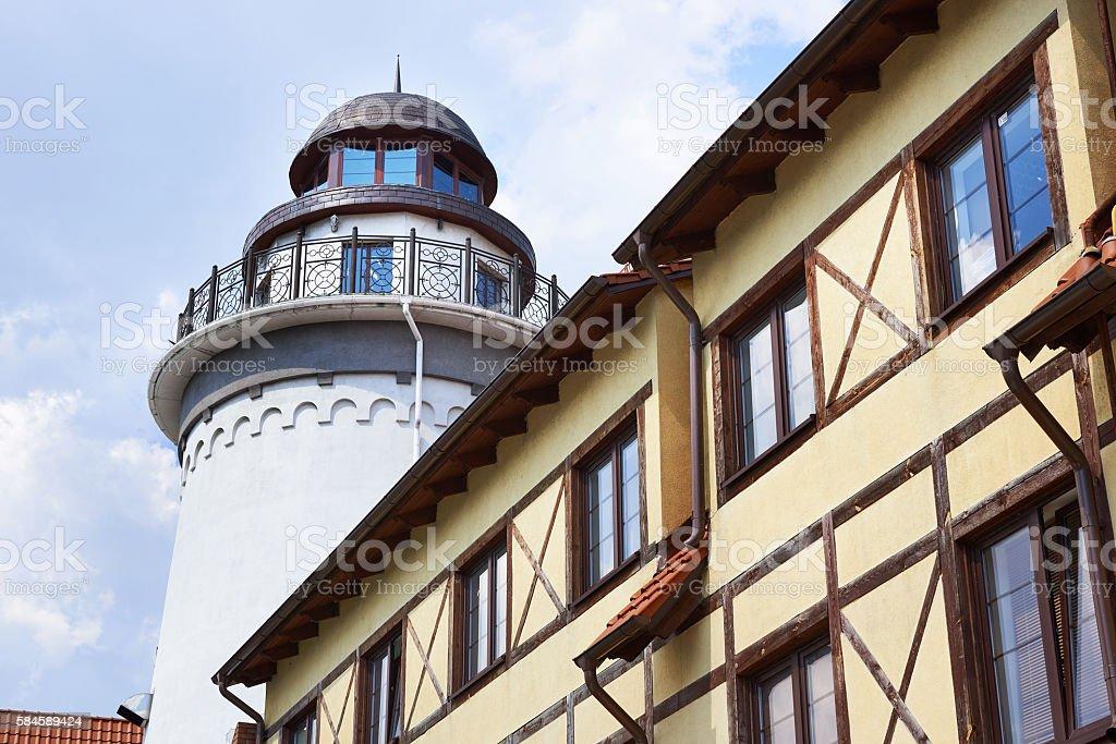 Lighthouse in Fishing Village. Kaliningrad, Russia stock photo