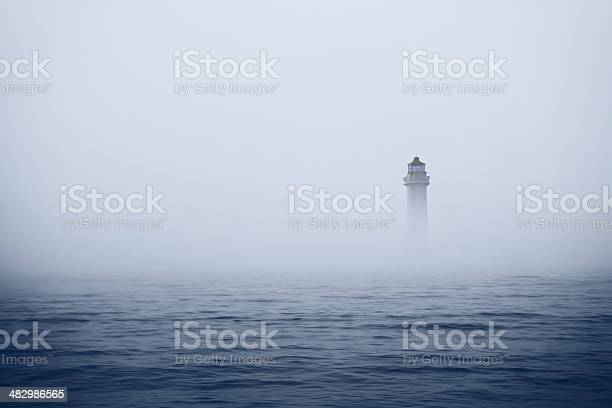 Photo of Lighthouse in foggy sea