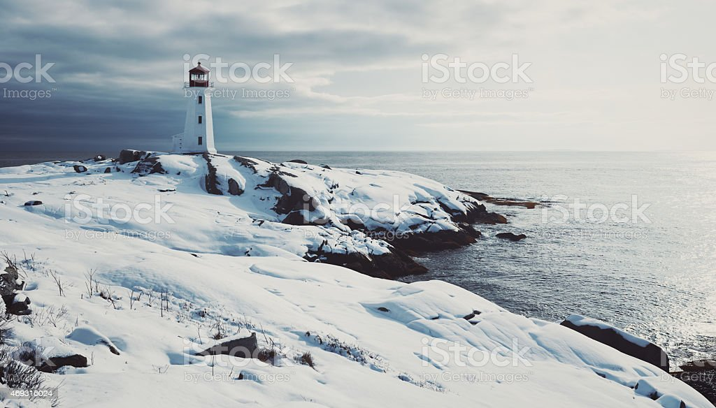 Lighthouse in Fresh Snow stock photo