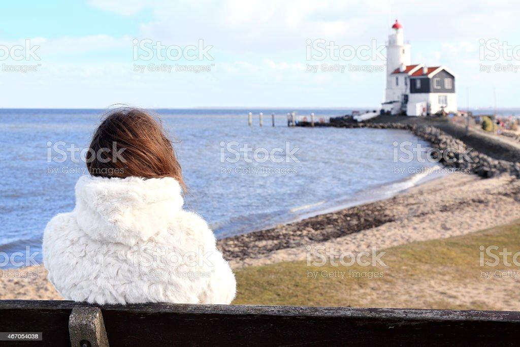 Lighthouse in Marken stock photo