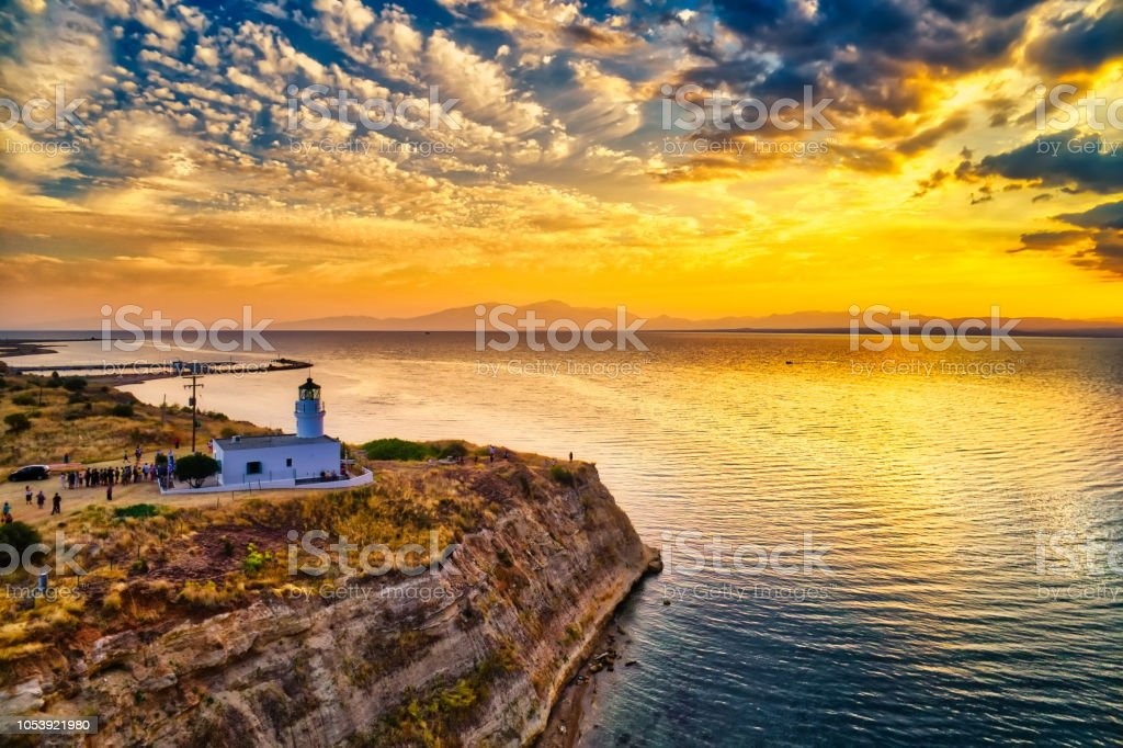 Lighthouse in Megalo Emvolo of Aggelochori in Thessaloniki. stock photo