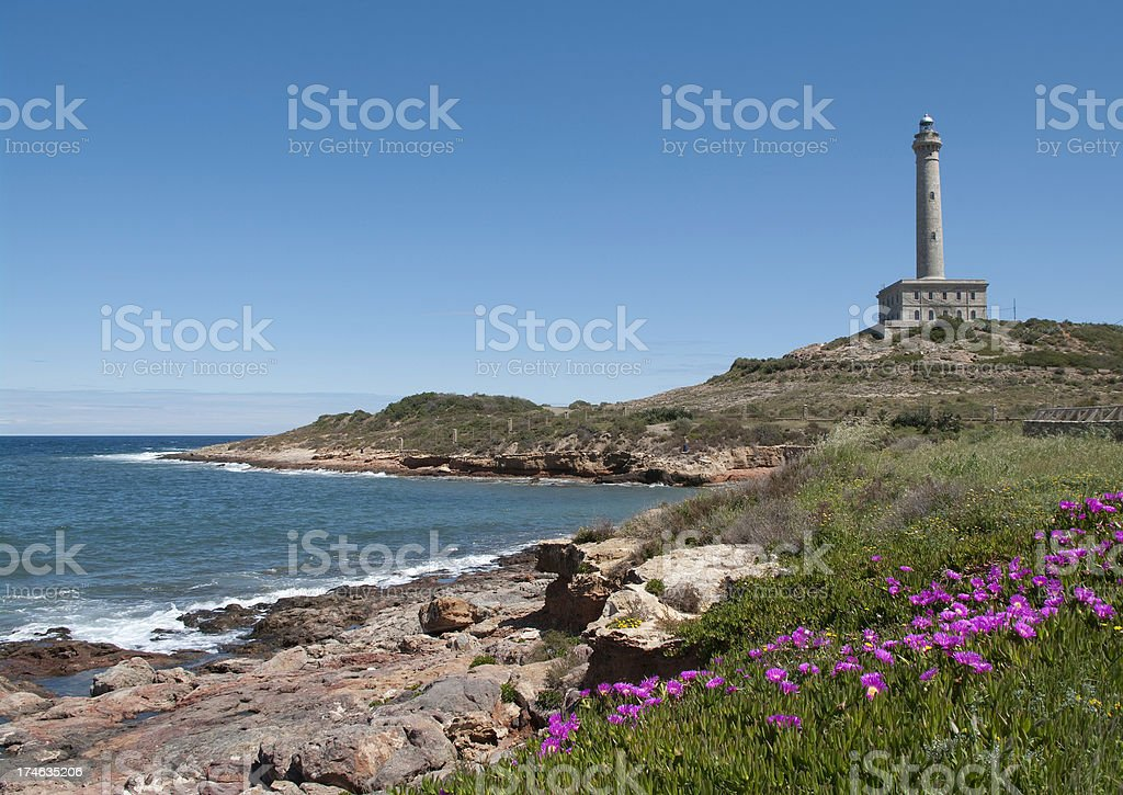 Lighthouse in Murcia Spain. Faro Cabo de Palos stock photo stock photo