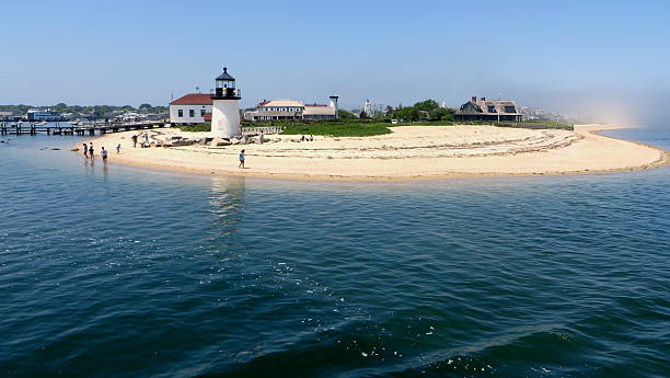 Lighthouse in Nantucket Brant Point Light in Nantucket, MA cape cod stock pictures, royalty-free photos & images