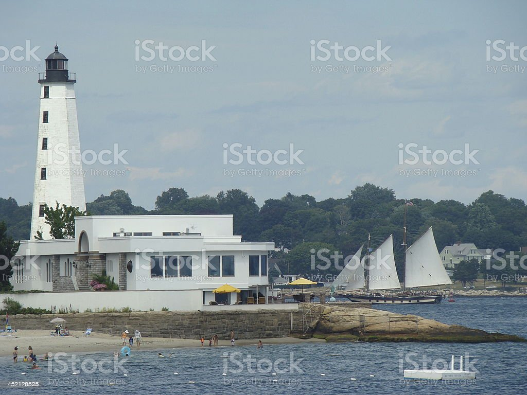 Lighthouse in New London Connecticut stock photo