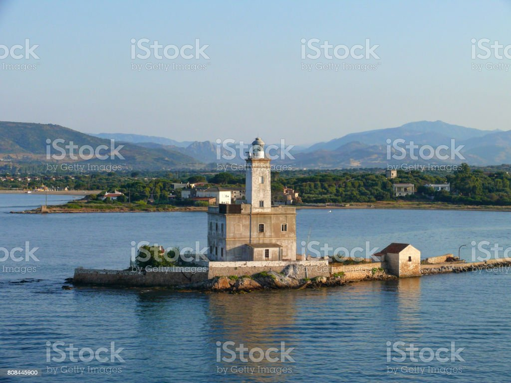 Lighthouse in Olbia harbor stock photo