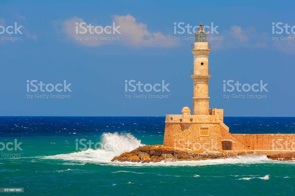 Lighthouse in old harbour, Chania, Crete, Greece stock photo