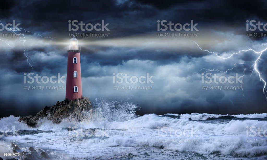 Leuchtturm In stürmischen Landschaft - Führer und Vision Concept – Foto