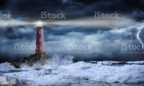 Photo of Lighthouse In Stormy Landscape - Leader And Vision Concept
