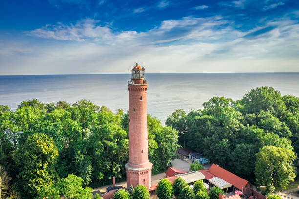 Lighthouse in summer by Baltic Sea, aerial view stock photo