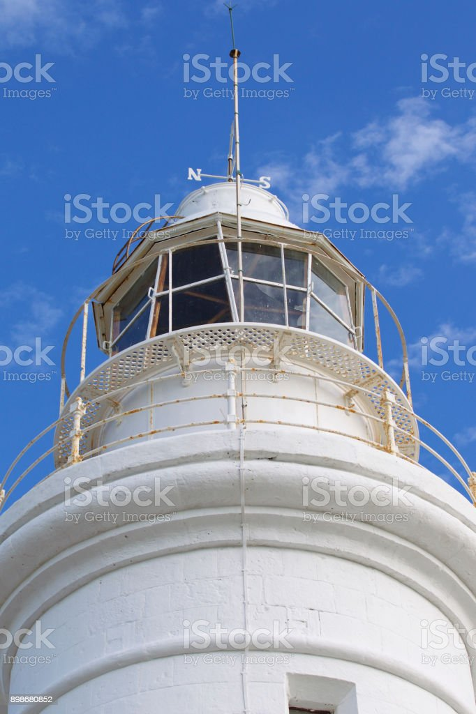 Lighthouse in the background of the sky in the town of Paphos stock photo