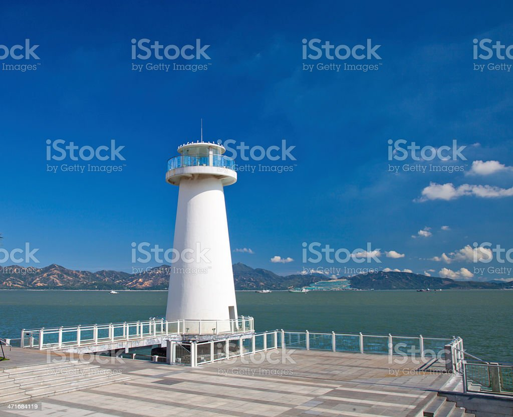lighthouse in the Gulf of Shenzhen stock photo