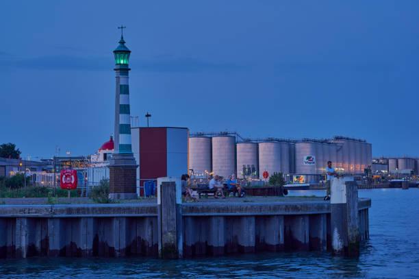 lighthouse in the petroleum industrial port of Vlaardingen, Netherlands stock photo