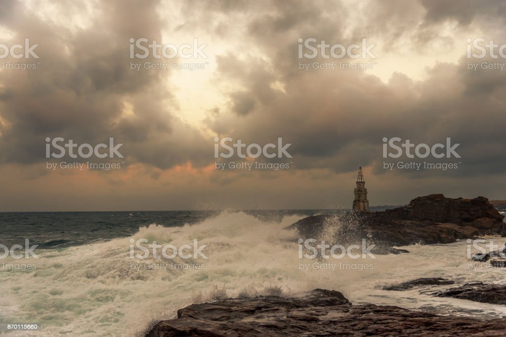 Lighthouse in the port of Ahtopol, Black Sea, Bulgaria. stock photo