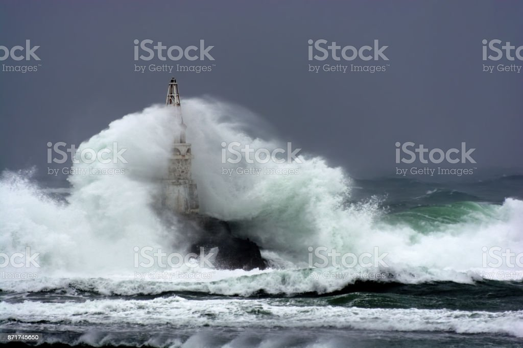 Lighthouse in the port of Ahtopol, Black Sea, Bulgaria stock photo