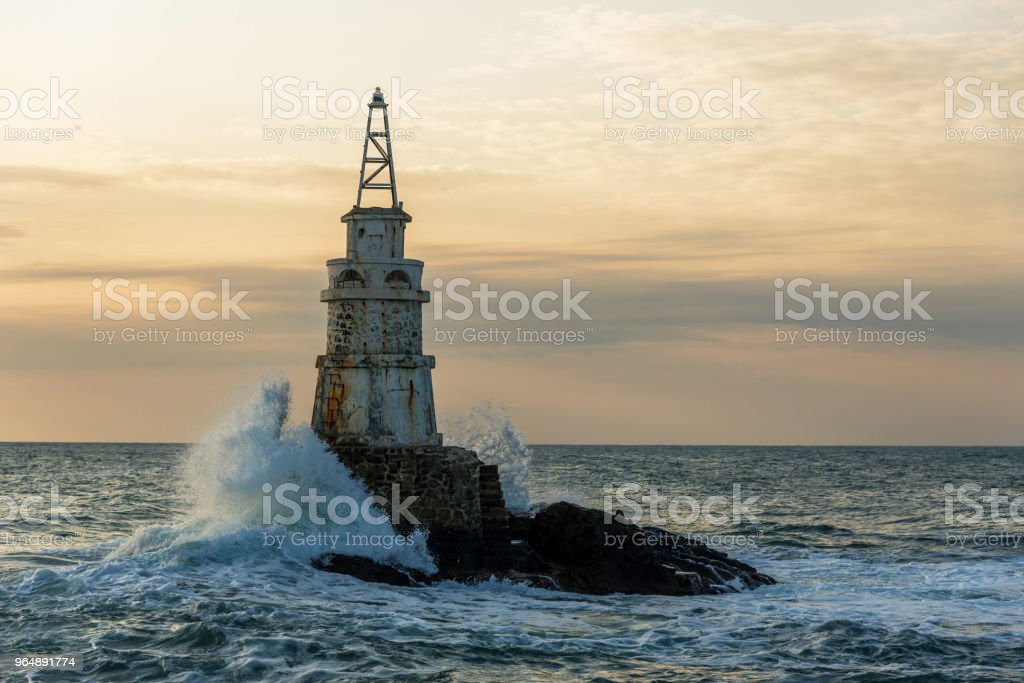 Lighthouse in the port of Ahtopol, Black Sea, Bulgaria. royalty-free stock photo