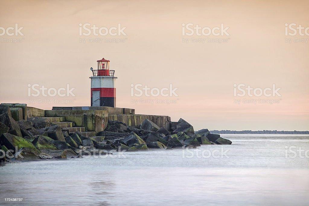 Lighthouse in the port of IJmuiden stock photo