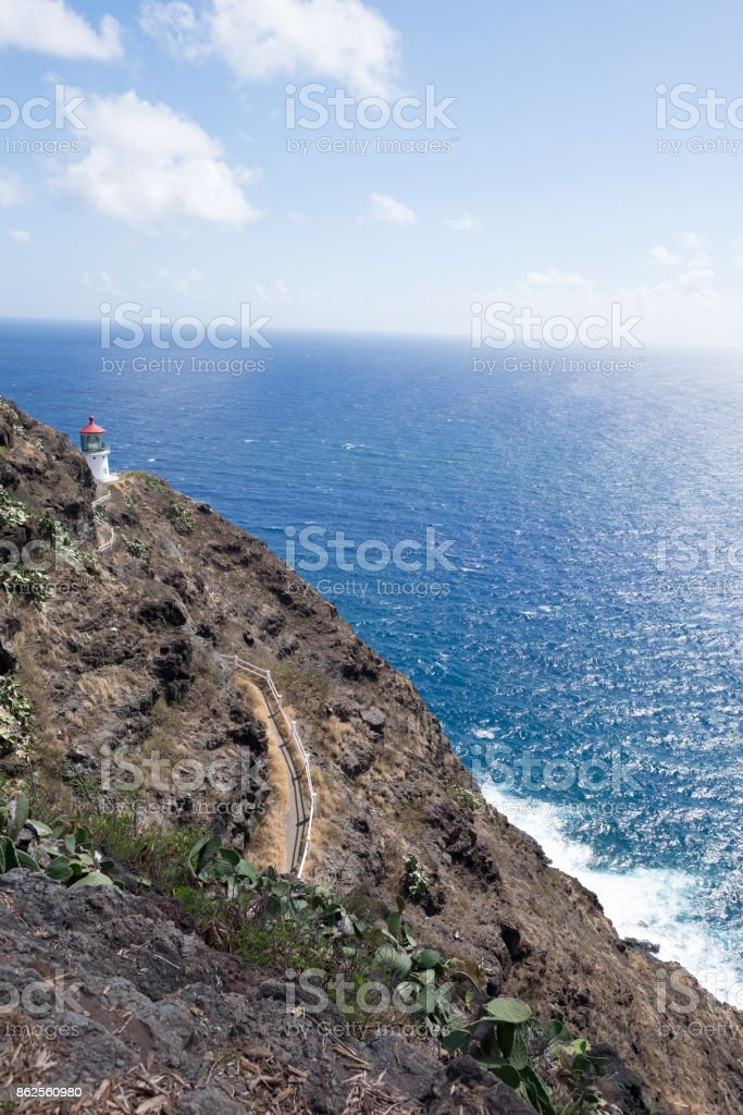 Lighthouse in the rocks royalty-free stock photo
