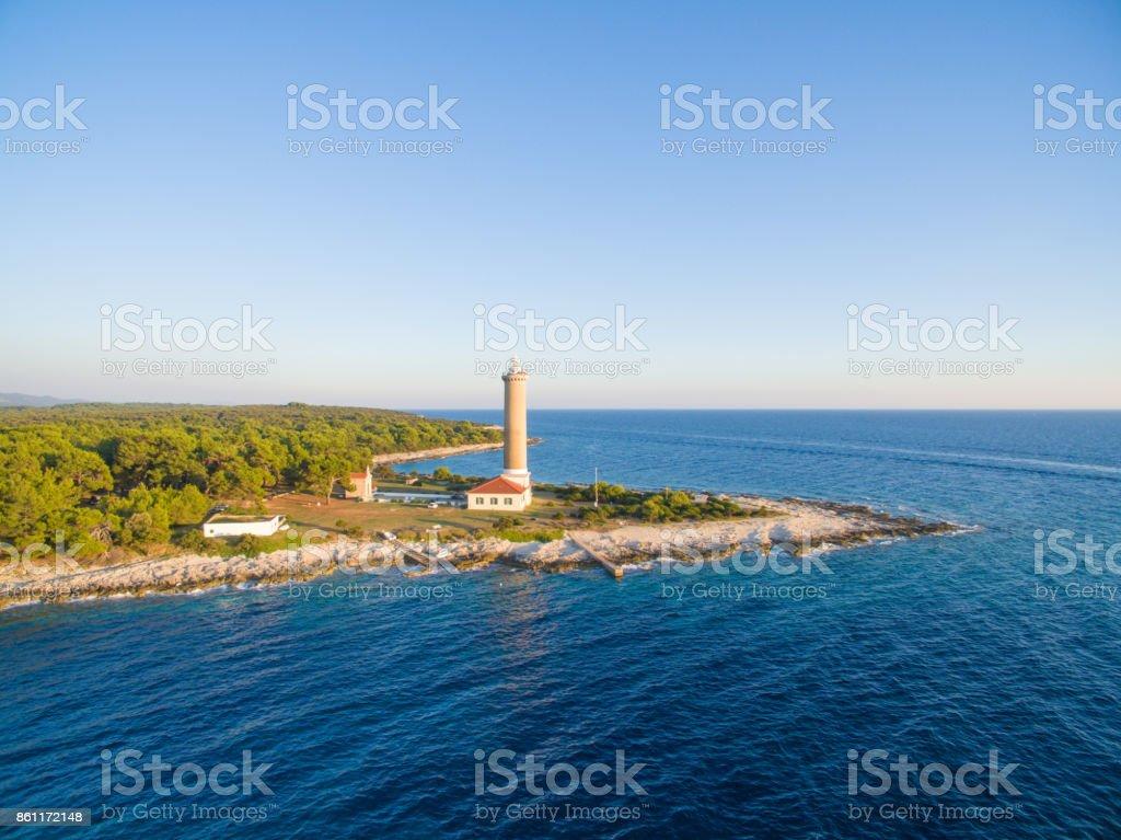 Lighthouse in Veli Rat stock photo