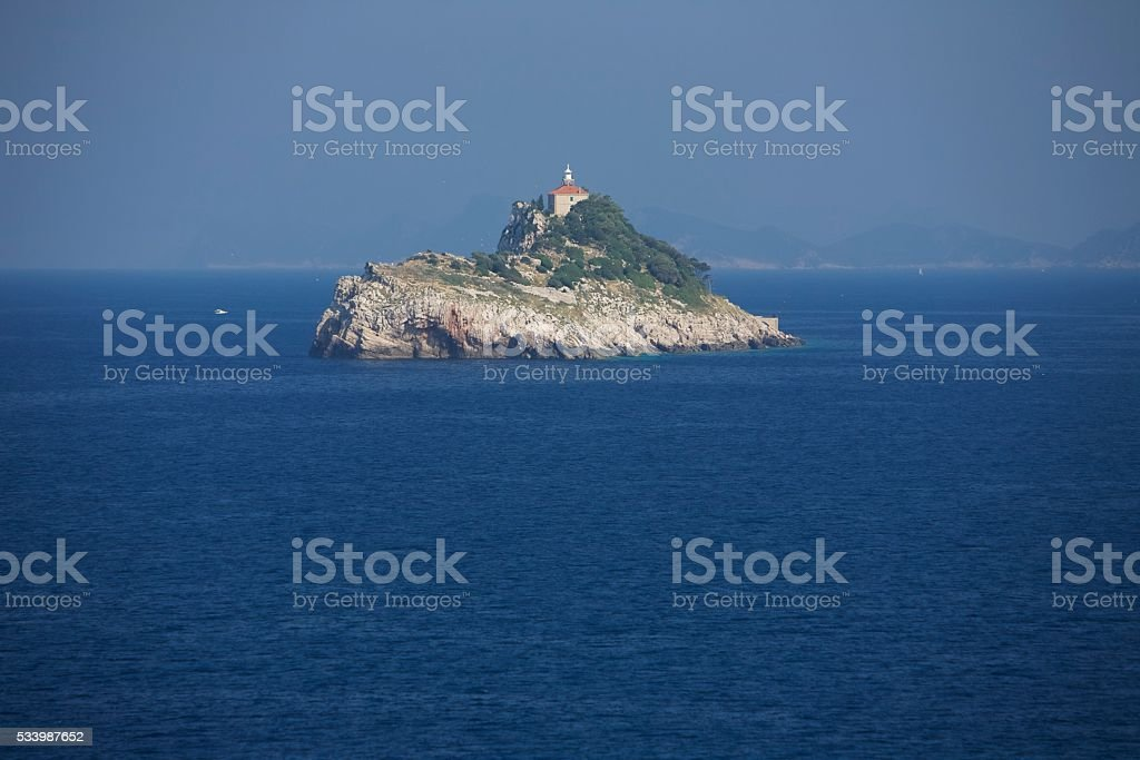 Lighthouse island cliff stock photo