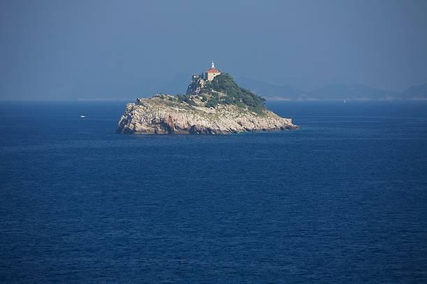 Lighthouse island cliff stock photo