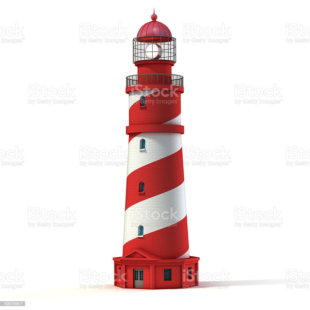 lighthouse isolated on white stock photo