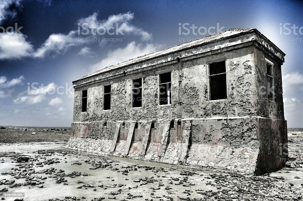 Lighthouse keeper's house Bonaire stock photo