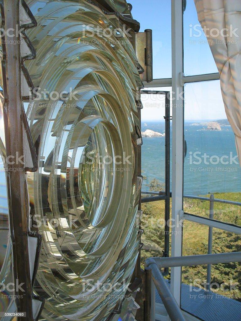 Lighthouse Lantern Case Overlooking the Ocean stock photo