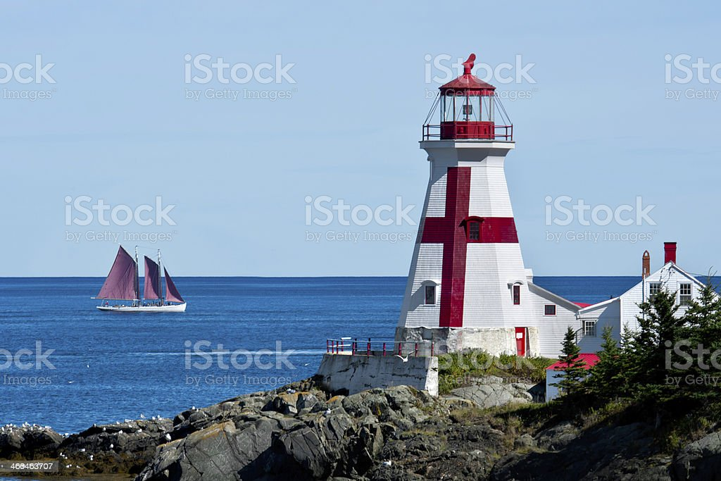 A lighthouse located on the eastern coast  royalty-free stock photo