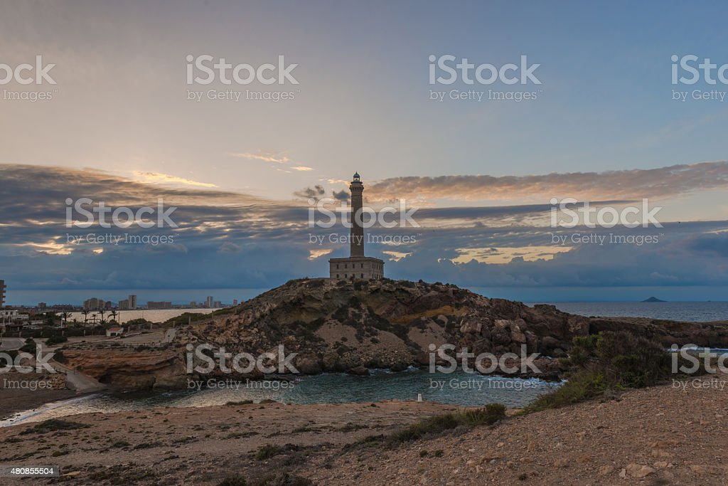 lighthouse,  Mediterranean, Cabo de Palos.  Mediterranean. Spain.May 24, 2015 stock photo