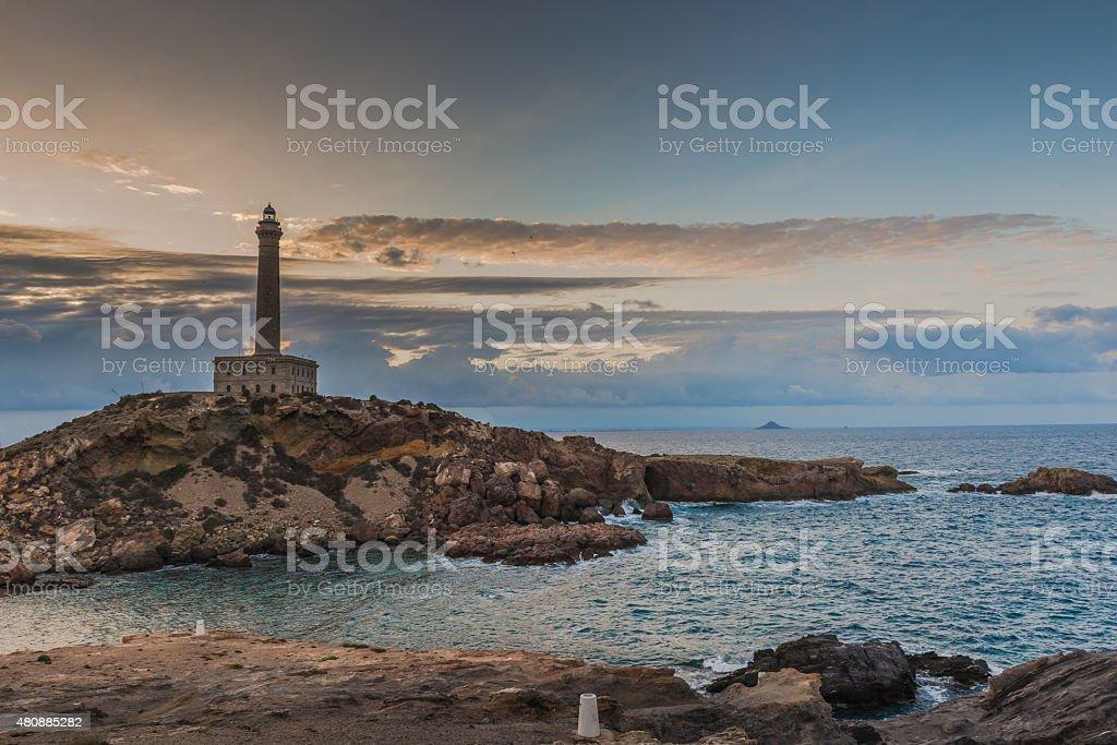 lighthouse,  Mediterranean, Cabo de Palos.  Mediterranean. Spain,May 24, 2015 stock photo