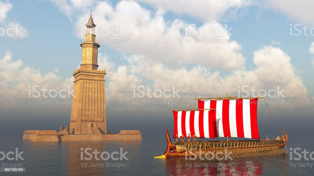 Lighthouse of Alexandria and ancient Greek warship stock photo